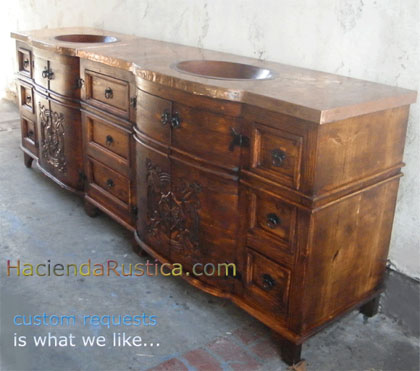 Mexican rustic copper vanity